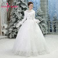 Winter Full Sleeves Wedding Dress 2018 Embroidery Tulle White Wedding Gowns For Marriage Warm Bride Dresses
