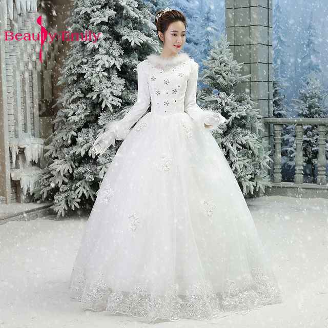 Winter full sleeves wedding dress 2018 embroidery tulle white ...