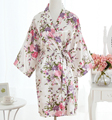 Сексуальный Белый Плюс Размер Невесты Свадебное Одеяние Платье женщин Элегантный Печати Атласные Пижамы Цветы Кимоно Халат Пижамы G10