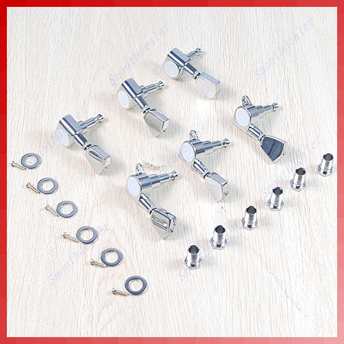 6 Pro Chrome Guitar String Tuning Pegs Keys Tuners Machine Heads 3R+3L цены