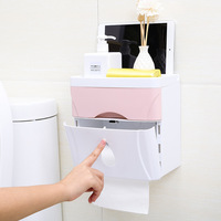 1Pcs Creative Multifunction Seamless Sticker 3in1 Double Drawer Paper Towel Box Bathroom Waterproof Tissue Box 21.2*13.1*21.3cm