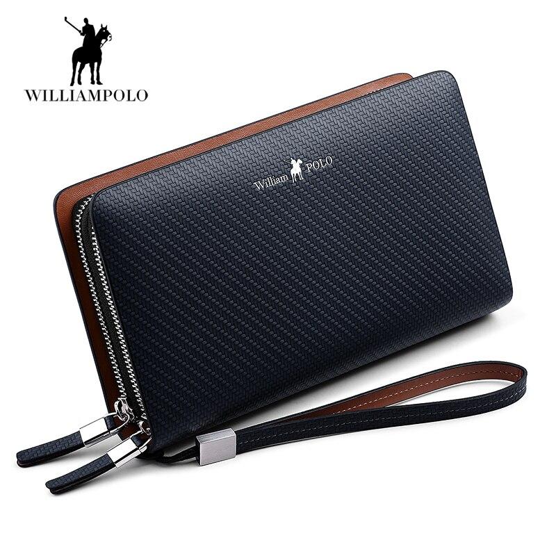 Hot Sale New 2018 Luxury Business Solid Double Zipper Men Genuine Leather Handbag Cowhide Long Men Clutch Bag Wallet POLO170 hot sale cotton solid men tank top