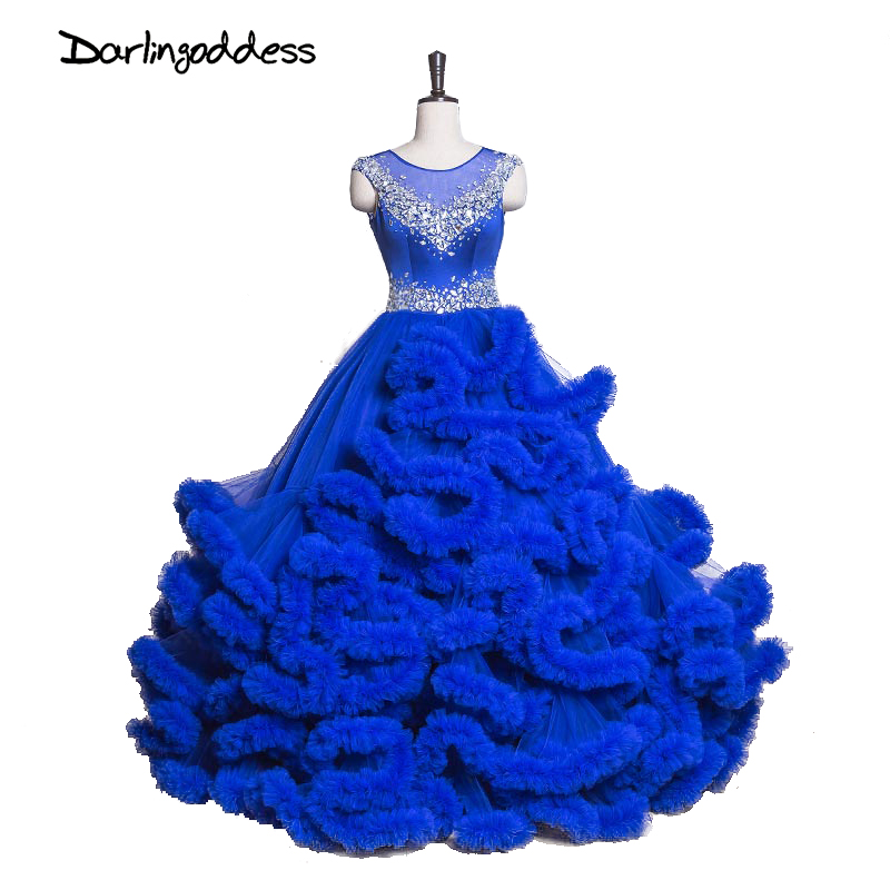Luxury Puffy Princess Cloud Wedding Dresses 2017 Royal Blue Ball Gown Crystal Tulle Plus Size Wedding Gowns vestidos de noiva