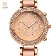Las mujeres de Negocios de Aleación de Oro Rosa de Cuarzo Reloj de Pulsera de Moda Oro Verdadero Reloj Resistente Al Agua Reloj de Pulsera Con Caja de Cristal de Lujo