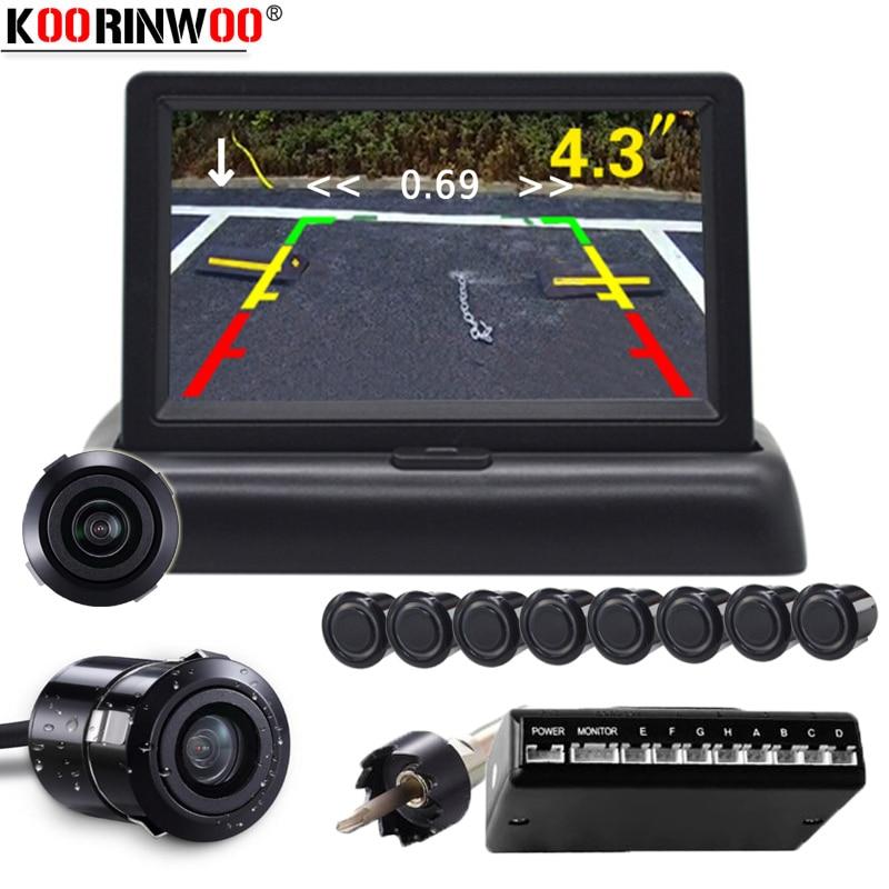 Koorinwoo HD 8 Parking Sensors Back/White/Grey Radar Alarm Car CCD Rear view camera Waterproof 4.3 inch Foldable Monitor System
