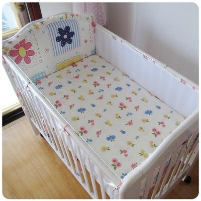 Promotion! 5PCS Mesh Flower Crib Baby Bedding Sets Cotton Baby Bedding Set Cartoon Cot Bedding Bumper Detachable(4bumpers+sheet) promotion 5pcs cartoon baby cot bedding set bed linen 100% cotton curtain crib bumper for baby 4bumpers sheet
