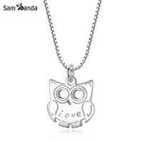 100 S925 Sterling Silver Cute Owl Pendant Necklaces Wholesale Antique Silver Charm Necklace Fashion Jewelry For
