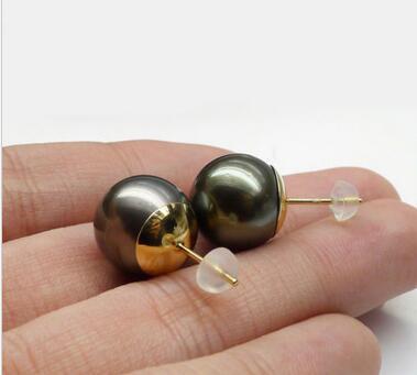 Livraison gratuite brillant 12-13 MM rond véritable tahitien noir perle boucles d'oreilles 14 or jaune
