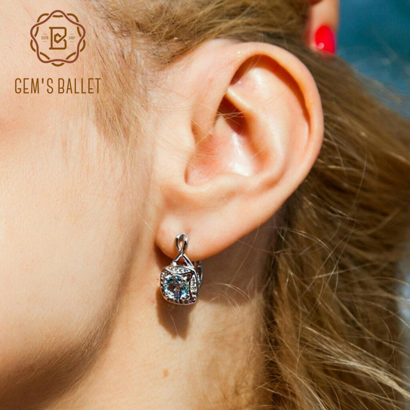 Gem's Ballet Fashion 925 Sterling Silver Classic Earrings 2.11Ct Natural Sky Blue Topaz Gemstone Stud Earings Women Fine Jewelry