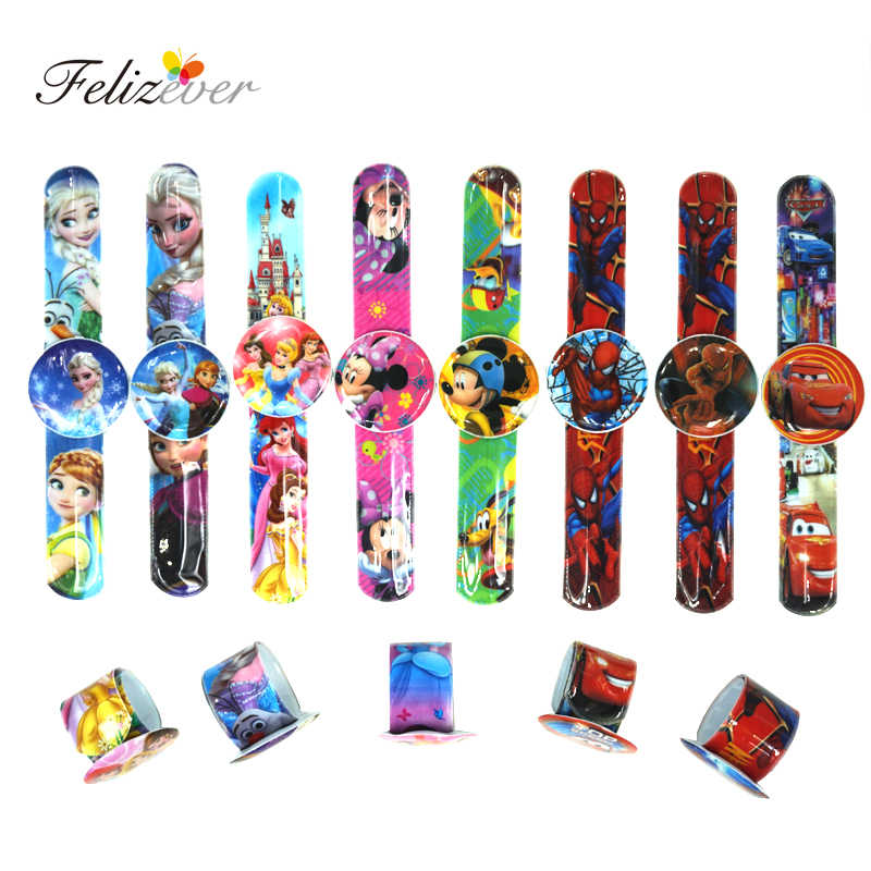 NEW 12PCS Assorted Cartoon Slap Bracelets Kids Event Party Favors Supplies Boy Girl Birthday Party Toys Treat Bag Reward Goodie