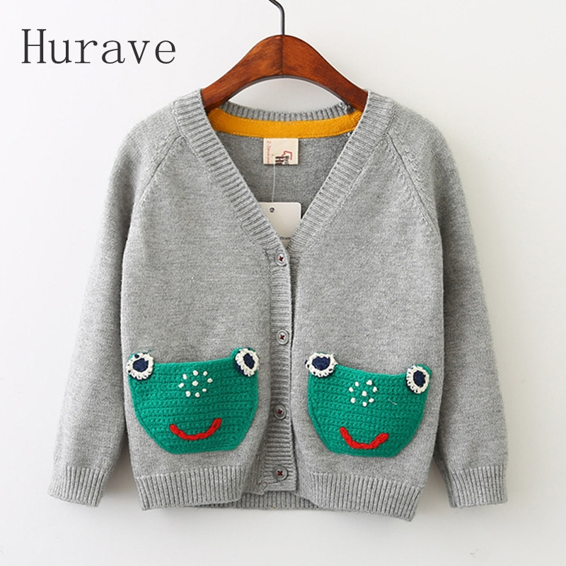 Hurave 2017 Fashion Baby Girls Sweater Frog With Packet v Neck Kintted Sweater Kids Clothing Cardigan Sweater For Girl