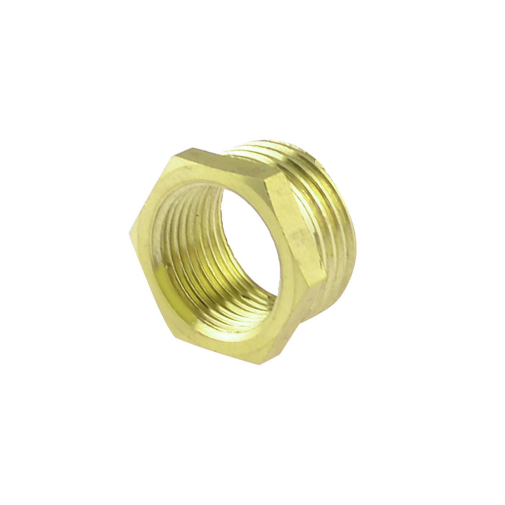 Brass 1/2 PT Male to 3/8 PT Female Thread Hex Bushing Pneumatic Quick Coupler female to female f f 1 2 pt threaded yellow lever handle brass ball valve