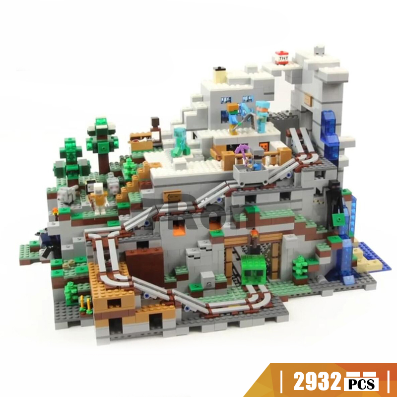 18032 Compatible with Lego blocks Minecraft 21137 The Mountain Cave Model building toys hobbies bricks for children Gift Kids classic my world minecraft the nether fortress building blocks bricks enlighten toys for children kids lele bela 21122 legoingly