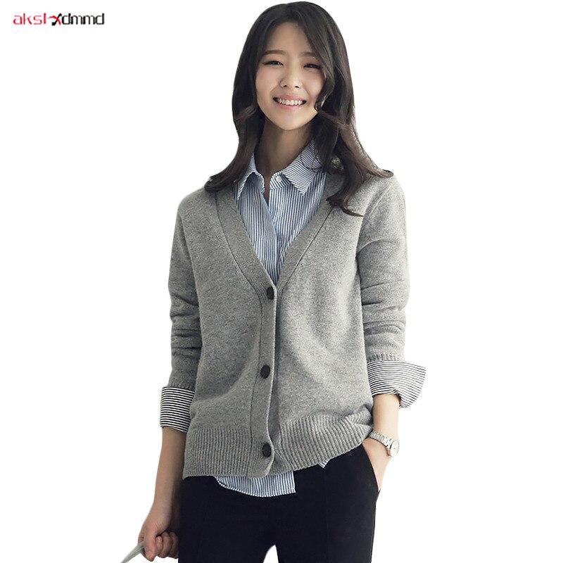 Solid Grey Short Cardigan Femme Black Sweater Mujer Ladies Cardigans Winter Top Plus Size Womens Coat Strickjacken Damen AC065