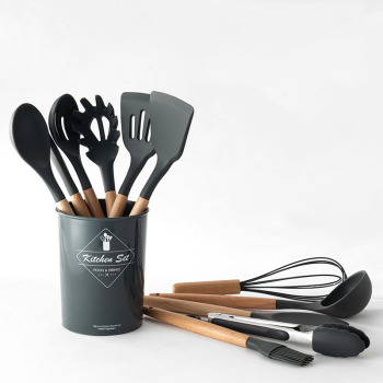 9/12/13pcs cooking tools set wood+silicone kitchen cooking utensils set cookware storage box turner tongs spatula spoon whisk
