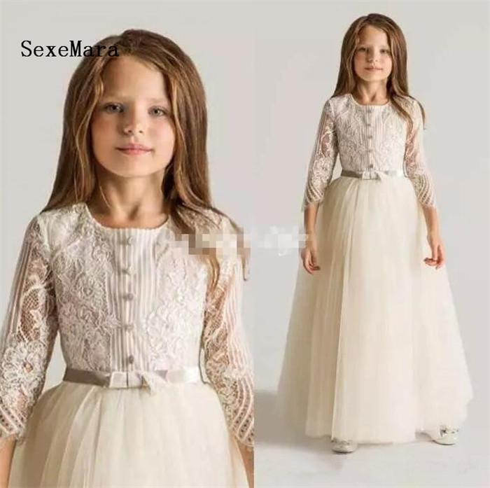 Flower Girls Dresses For Wedding Long Sleeves Appliques Ruched New First Communion Kids Gowns Top Quality Girl Birthday Dress girls dress girl top quality dresses 100