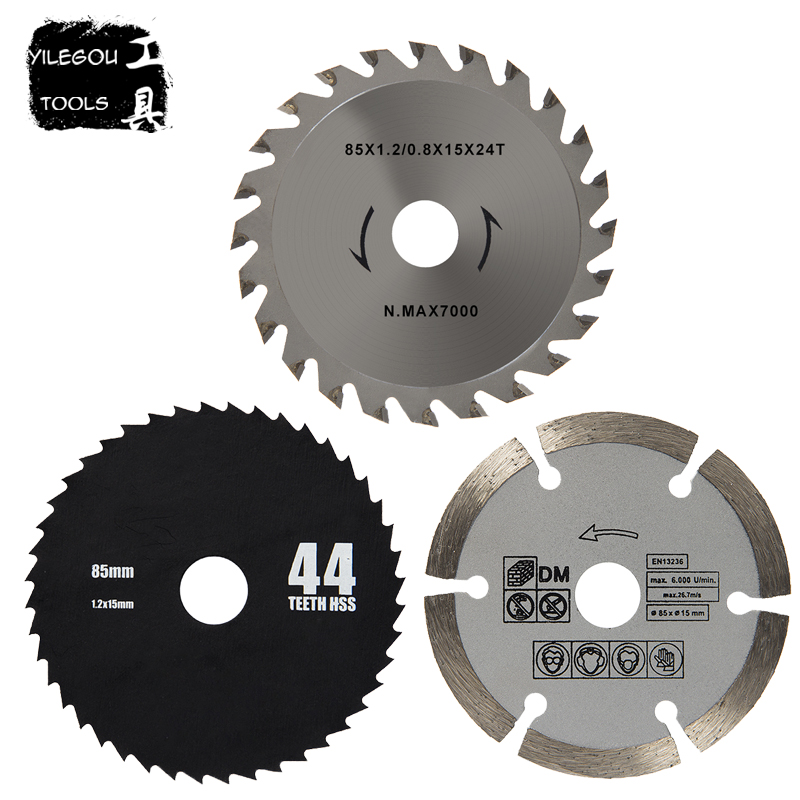 3Pcs 85mm Circular Saw Blades 44 Teeth HSS Saw Blades 24 Teeth TCT Wood Saw Blades Daimond Blades For 85*15mm Mini Circular Saw