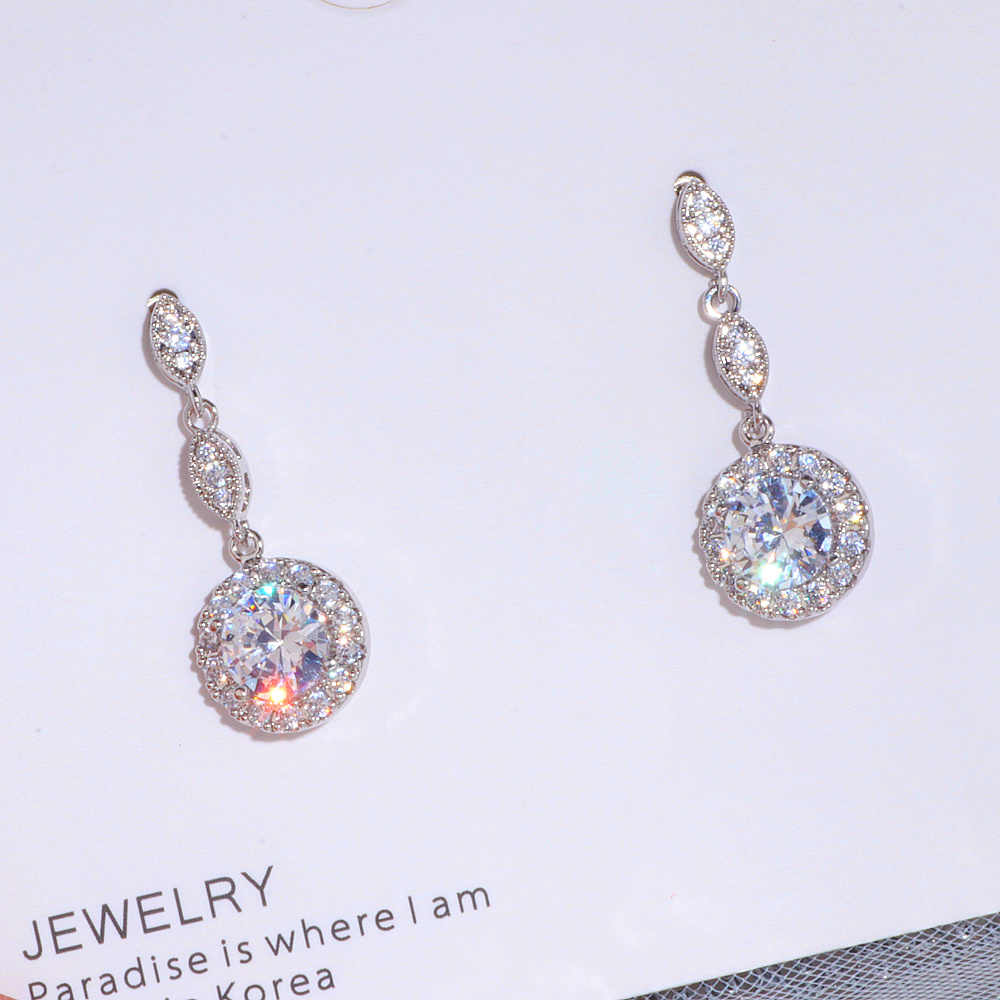Luxury Female Water Drop Earrings Fashion Silver Color Zircon Stone Earrings Elegant Long Dangle Earrings Women Wedding Jewelry