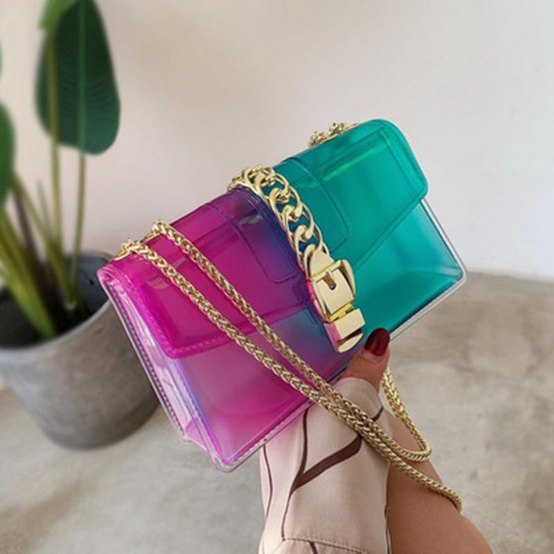 Flap-Bags Messenger-Bag Crossbody-Bags Clear Candy Transparent Gradient Small Mini Women