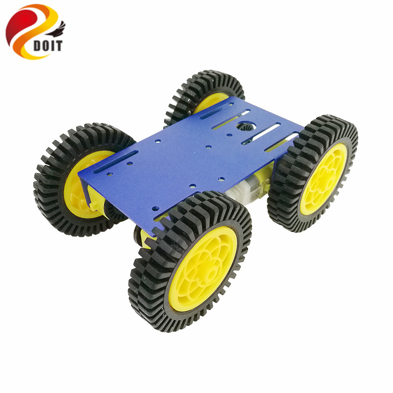 DOIT 1 set Smart Robot RC Car Kit with 2mm Aluminum Chassis, 4pcs TT Motor, 4pcs 80mm Rubber Wheel for Arduino Project doit cool and new 6wd robot smart car chassis big load large bearing chassis with motor 6v150rpm wheel skid diy rc toy
