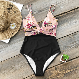 Image 1 - CUPSHE Pink Floral One Piece Swimsuit Women High Leg Cut Sexy Monokini Bathing Suits 2020 Gril Beach Bathing Suit Swimwear