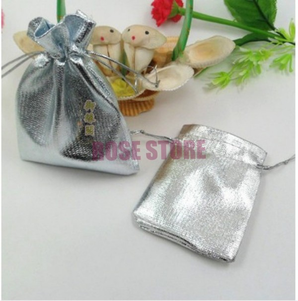 500pcsLot Silver Plated Satin Gift Bag 9x12cm Small Jewelry Package Bags Wedding Favors Candy Gift Packaging Bag & Pouches