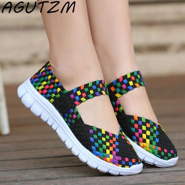 Agutzm 2018 mujeres zapatos planos Sandalias Mujer tejida ronda toe cuña Sandalias Zapatos señoras playa verano sandalias Chanclas Zapatos