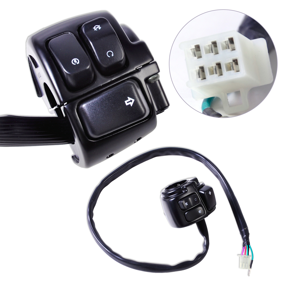 dwcx new motorcycle 1 handlebar ignition kill switch wiring harness for harley davidson softail dyna [ 1110 x 1110 Pixel ]