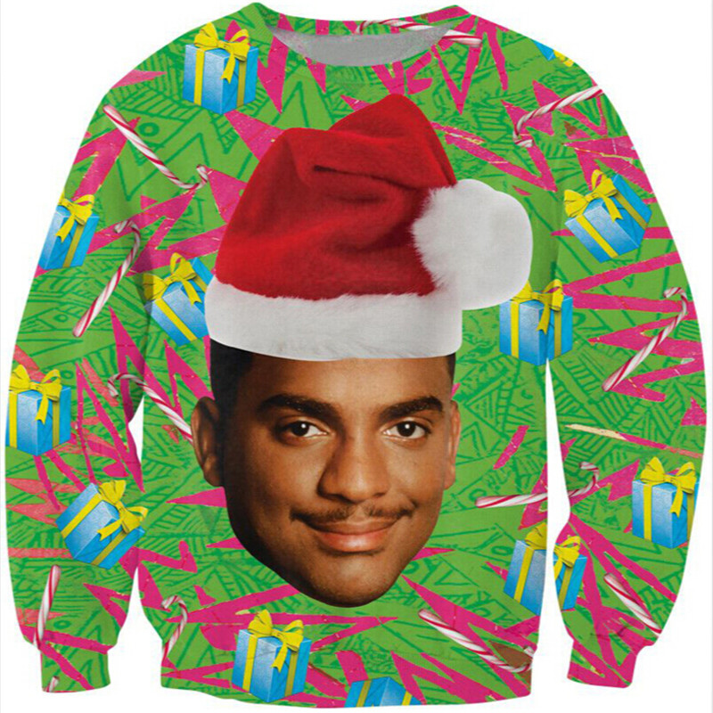 New Fashion jumper Brand Hoodies Women men sweatshirt Unisex 3D Print Will Smith With Christmas hat Sweats Casual pullovers Tops