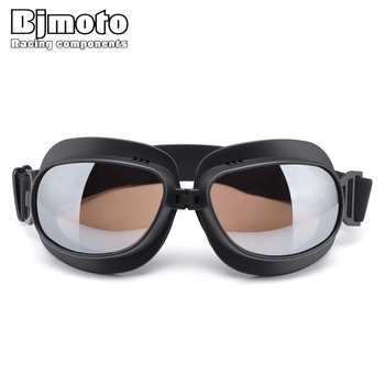 BJMOTO Motorcycle Glasses Goggles Helmet Pilot Scooter Retro Moto Outdoor Dirt Bike Riding Sunglasses Motocross Goggles Off-Road