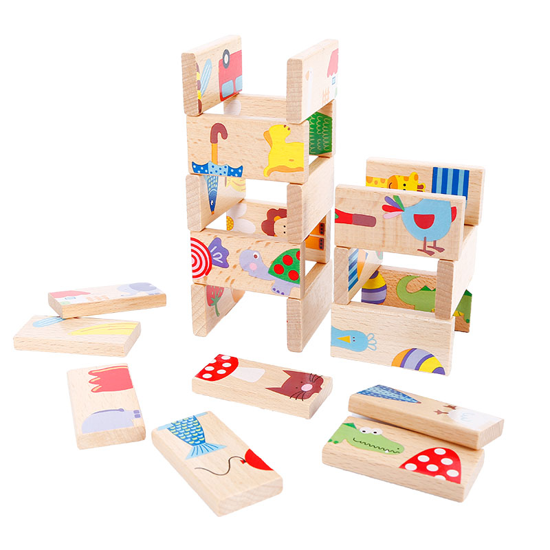 Childrens Wooden Toys board game High-grade 28 pieces Beech Wood Domino Solitaire Early Learning Cognitive Educational Toys ...