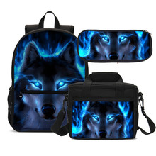 3pcs Set Cool Wolf School Bag Set Children Casual Bookbag With Food Package Animal Print Schoolbags For Teenager Boys Backpacks(China)