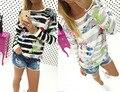 2017 fashion floral print striped long sleeve tshirt women top casual spring summer tee shirt female T-shirts