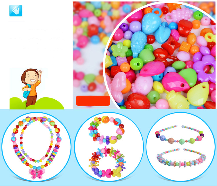 Children DIY Plastic Acrylic Bead Kit Girl Toys DIY Beaded Handmade Bracelet Amblyopia Training Color Puzzle Early Education Toy (8)