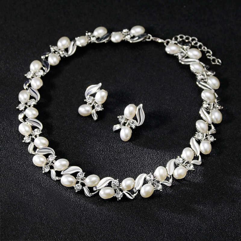 ロイヤルドバイジュエリーセット豪華な真珠のネックレスイヤリングセットクリスタルウェディングジュエリーセット jewlery セット女性のための