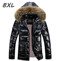 8XL Winter Jacket Men Down Jacket 2017 White Duck Down Thick Coat Hood Natural Pure Fur Collar Plus Size 6XL Windproof Parka 583