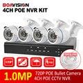 4CH 720 P POE CCTV NVR Sistema de Segurança de Vigilância em casa 4 PCS IP PoE NVR Kit 4 pcs câmeras Ao Ar Livre Bala Câmera IP PoE 720 P