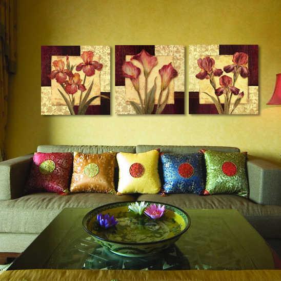 فاخرة أنيقة 3 قطع قماش جدار اللوحة الحديثة خلاصة الزهور الرئيسية الديكور الفن صورة زيت على قماش يطبع unframed