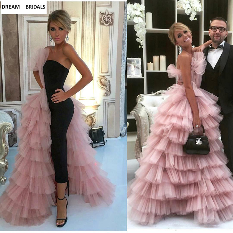 Pink And Black Colors Tiered Strapless Celebrity Dresses Red Carpet Women Dresses Lady Court Train Backless Vestidos Long(China)