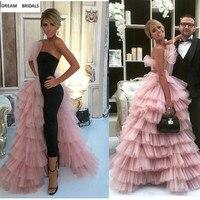 Розовый и черный цвета Многоуровневое без бретелек платья знаменитостей Красный ковер женские платья леди суд поезд спинки Vestidos Длинные
