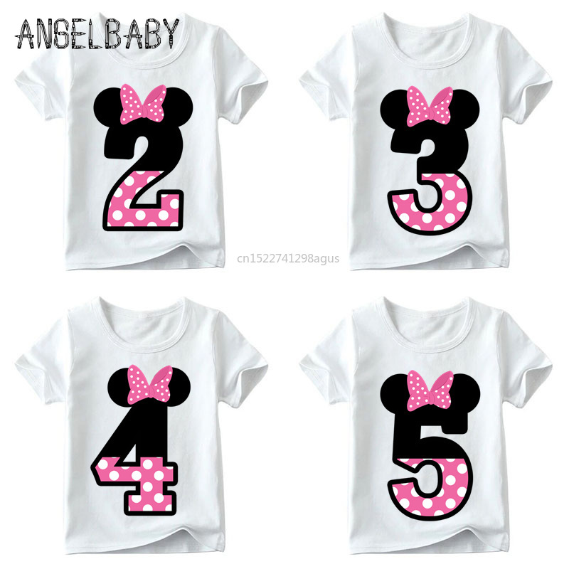 Baby Boys/Girls Happy Birthday Letter Bow Cute Print Clothes Children Funny T shirt,Kids Number 1-9 Birthday Present,HKP2416(China)