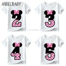 Одежда с милым принтом в виде букв и бантиков для маленьких мальчиков и девочек, детская забавная футболка, подарок на день рождения для детей 1-9, HKP2416