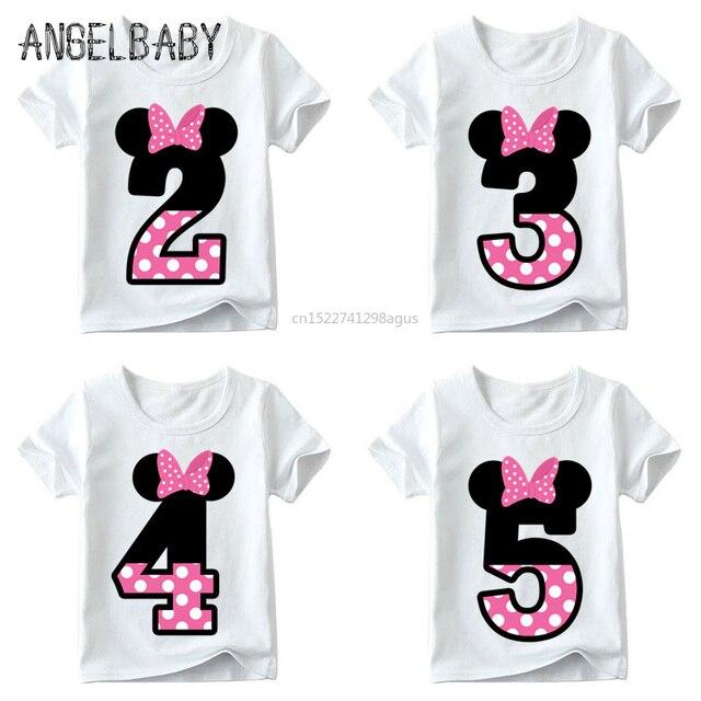 תינוק בנים/בנות שמח יום הולדת מכתב קשת חמוד הדפסת בגדי ילדים מצחיק T חולצה, ילדים מספר 1-9 יום הולדת הווה, HKP2416