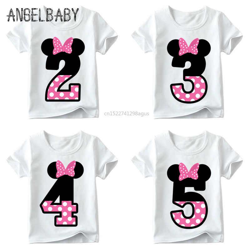 Chłopcy/dziewczęta kartka urodzinowa łuk śliczne ubrania drukowane dzieci śmieszne T shirt, dzieci numer 1-9 prezent urodzinowy, HKP2416