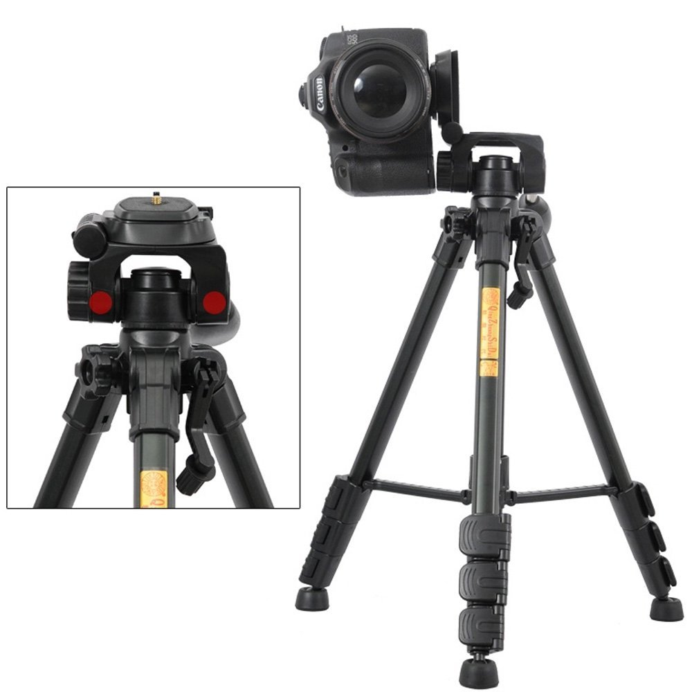 Professional QZSD Q111 Aluminum Portable Tripod with Q08 Rocker Arm Ball Head for Canon Nikon Sony SLR Camera free shipping qzsd q999 portable tripod