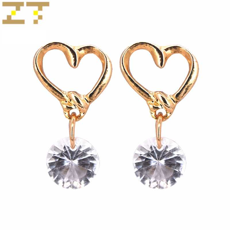 Hot Sale Korea Fashion Gold Peach Heart Zircon Round White Crystal Gentle Simple Stud Earring for Women Jewelry Oorbellen Brinco