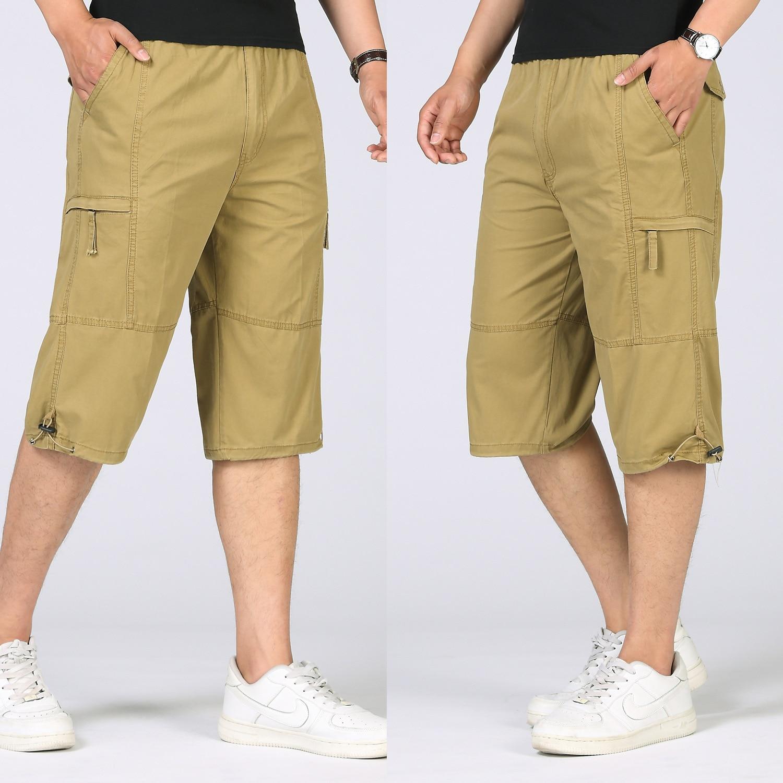 Summer Plus Size Mens Baggy Multi Pocket Military Zipper Cargo Short Hot breeches Male Long Army Green Khaki Men Tactical Short