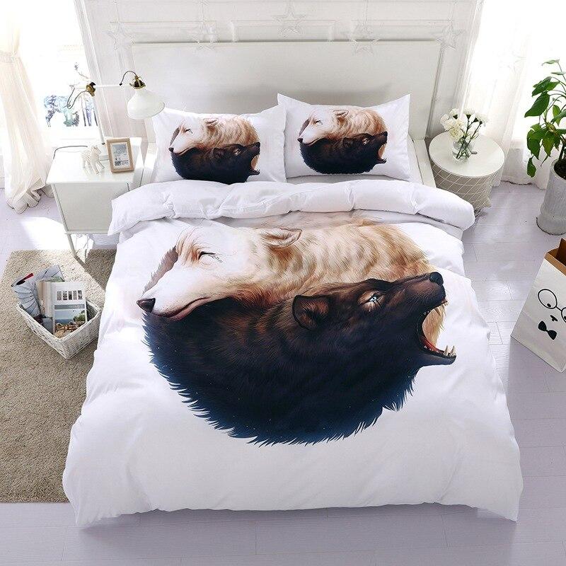 3D Wolf Bedding Set BeddingOutlet White Bedding Set Dog Print Bedclothes bed linen Duvet Cover Pillowcase