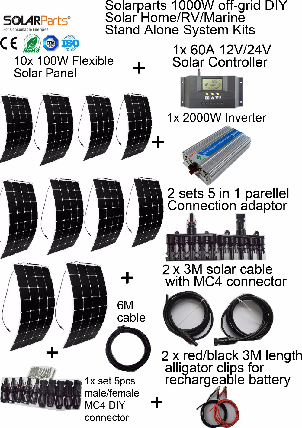 Solarparts 1000W off-grid Solar System KITS flexible solar panel +controller+inverter+cable+adaptor for RV/Marine/Camping/Home . dc house usa uk stock 300w off grid solar system kits new 100w solar module 12v home 20a controller 1000w inverter