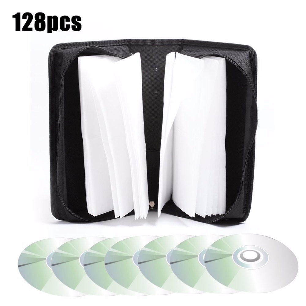 128 Disc CD Box DVD Storage Case Carrying Bag Organizer Holder Media Video Accessories Protective High-Grade PU Leather Holder